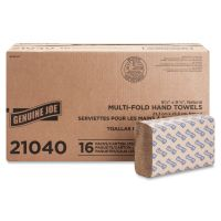 """Genuine Joe Multifold Paper Towels, 9.25"""" x 9.40"""", Natural, 250 Sheets/Pack, 16 Packs/Carton GJO21040"""