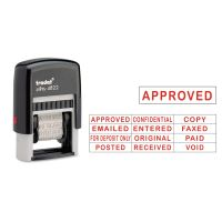 Trodat Self-Inking Stamps, 12-Message, Self-Inking, 1 1/4 x 3/8, Red USSE4822