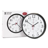 "Howard Miller Alton Auto Daylight Savings Wall Clock, 14"", Black MIL625323"