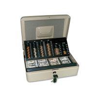 PM Company SecurIT 3-in-1 Cash-Change-Storage Steel Security Box w/Key Lock, Pebble Beige PMC04967