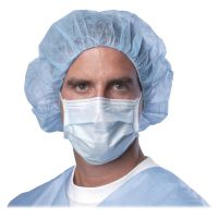 Medline Standard Procedure Face Mask, Cellulose, Blue, 50/Box MIINON27375Z