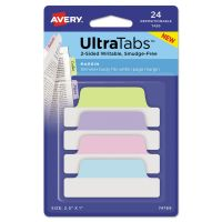 Avery Ultra Tabs Repositionable Tabs, 2.5 x 1, Pastel:Blue, Pink, Purple, Green, 24/PK AVE74769