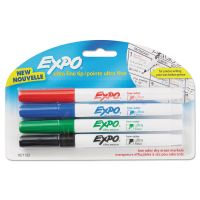 EXPO Low-Odor Dry-Erase Marker, Ultra Fine Point, Assorted, 4/Pack SAN1871133