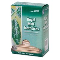 "Royal Mint Cello-Wrapped Wood Toothpicks, 2 1/2"", Natural, 1000/Box, 15 Boxes/Carton RPPRM115"