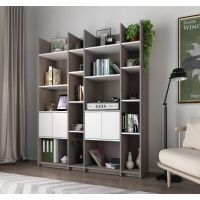 Bestar Small Space Storage Wall Unit in Bark Gray and White BESBES1685447