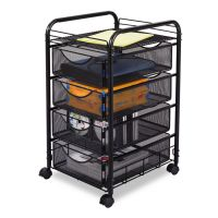 Safco Onyx Mesh Mobile File With Four Supply Drawers, 15-3/4w x 17d x 27h, Black SAF5214BL