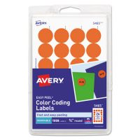 "Avery Printable Removable Color-Coding Labels, 3/4"" dia, Orange, 1008/Pack AVE05465"