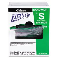 Ziploc Resealable Sandwich Bags, 1.2mil, 6 1/2 x 6, Clear, 500/Box SJN682255