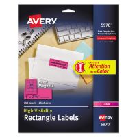 Avery High-Visibility Permanent ID Labels, Laser, 1 x 2 5/8, Neon Magenta, 750/Pack AVE5970
