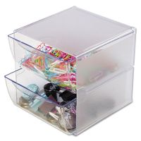 deflecto Stackable Cube Organizer, 2 Drawers, 6 x 7 1/8 x 6, Clear DEF350101
