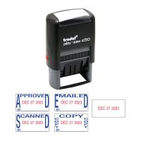 Trodat Economy 5-in-1 Date Stamp, Self-Inking, 1 x 1 5/8, Blue/Red USSE4756