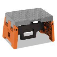 "Cosco One-Step Folding Step Stool, 300 lb, 8 1/2"" Working Height, Orange/Gray CSC11903BGO1E"