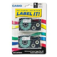 Casio Tape Cassettes for KL Label Makers, 9mm x 26ft, Black on Clear, 2/Pack CSOXR9X2S