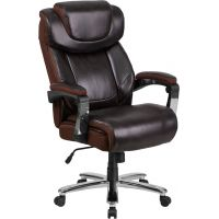 Flash Furniture HERCULES Series Big & Tall Leather Executive Swivel Office Chair with Height Adjustable Headrest FHFGO2223BNGG