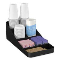Mind Reader Trove Seven-Compartment Coffee Condiment Organizer, Black, 7 3/4 x 16 x 5 1/4 EMSCOMP7BLK