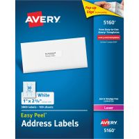 Avery Easy Peel Mailing Address Labels, Laser, 1 x 2 5/8, White, 3000/Box AVE5160