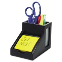 Victor Midnight Black Collection Pencil Cup with Note Holder, 4 x 6 3/10 x 4 1/2, Wood VCT95055