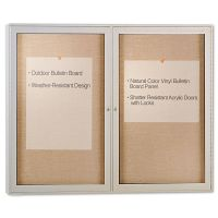 Ghent Enclosed Outdoor Bulletin Board, 48 x 36, Satin Finish GHEPA23648VX181