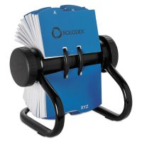 Rolodex Open Rotary Business Card File w/24 Guides, Black ROL67236