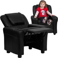 Flash Furniture Contemporary Kids Recliner with Cup Holder and Headrest FHFDGULTKIDBKGG