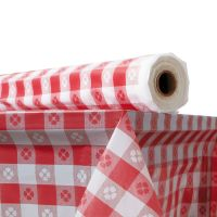 """Plastic Table Cover, 40"""" x 300 ft Roll, Red Gingham ATL2TCR300GIN"""