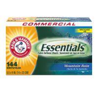 Arm & Hammer Essentials Dryer Sheets, Mountain Rain, 144 Sheets/Box CDC3320000102BX