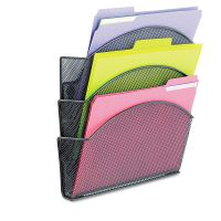 Safco Onyx Magnetic Mesh Panel Accessories, 3 File Pocket, 13 x 4 1/3 x 13 1/2. Black SAF4175BL