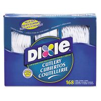 Dixie Combo Pack, Tray w/ White Plastic Utensils, 56 Forks, 56 Knives, 56 Spoons DXECM168