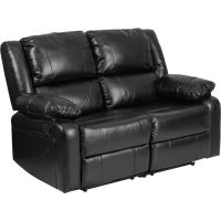 Flash Furniture Harmony Series Black Leather Loveseat with Two Built-In Recliners FHFBT70597LSGG