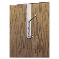 Safco Over-The-Door Double Coat Hook, Chrome-Plated Steel, Satin Aluminum Base SAF4166