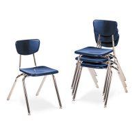 "Virco 3000 Series Classroom Chairs, 18"" Seat Height, Navy, 4/Carton VIR301851"