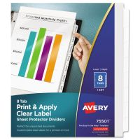 Avery Index Maker Print & Apply Clear Label Sheet Protector Dividers, 8-Tab, White Tab, Letter, 1 Set AVE75501