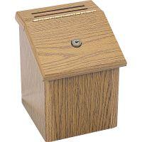 Safco Wood Suggestion Box, Latch Lid Key Lock, 7 3/4 x 7 1/2 x 9 3/4, Oak SAF4230MO