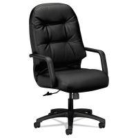 HON Pillow-Soft 2090 Series Leather High-Back Executive Chair, Black HON2091SR11T