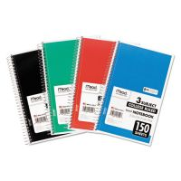 Mead Spiral Bound Notebook, Perforated, College Rule, 9.5 x 5.5, White, 150 Sheets MEA06900