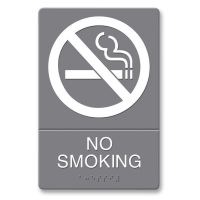 Headline Sign ADA Sign, No Smoking Symbol w/Tactile Graphic, Molded Plastic, 6 x 9, Gray USS4813