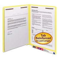 Smead Two-Inch Capacity Fastener Folders, End Tab, Straight, Letter, Yellow, 50/Box SMD25940