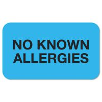 """Tabbies """"No Known Allergies"""" Medical Labels, 7/8 x 1-1/2, Light Blue, 250/Roll TAB01510"""