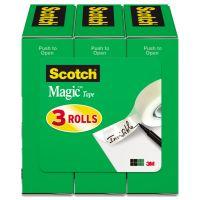 """Scotch Magic Tape Refill, 3/4"""" x 1000"""", 1"""" Core, Clear, 3/Pack MMM810K3"""