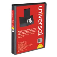 "Universal Deluxe Easy-to-Open 3-Ring View Binder, 1"" Capacity, D-Ring, Black UNV30711"