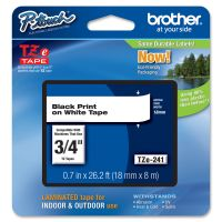 """Brother P-Touch TZe Standard Adhesive Laminated Labeling Tape, 3/4""""w, Black on White BRTTZE241"""