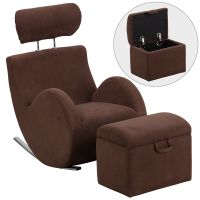 Flash Furniture HERCULES Series Brown Fabric Rocking Chair with Storage Ottoman FHFLD2025BNGG