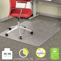 deflecto EconoMat Occasional Use Chair Mat for Low Pile, 36 x 48 w/Lip, Clear DEFCM11112