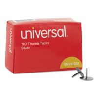 "Universal Thumb Tacks, Steel, Silver, 5/16"", 100/Box UNV51002"