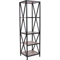 Flash Furniture Chelsea Collection Sonoma Oak Wood Grain Finish Storage Shelf with Metal Frame FHFNANJH1785GG