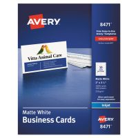 Avery Printable Microperf Business Cards, Inkjet, 2 x 3 1/2, White, Matte, 1000/Box AVE8471