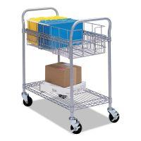 Safco Wire Mail Cart, 600-lb Cap, 18-3/4w x 26-3/4d x 38-1/2h, Metallic Gray SAF5235GR