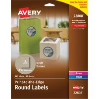 "Avery Round Print-to-the-Edge Labels, 2 1/2"" dia, Kraft Brown, 225/PK AVE22808"