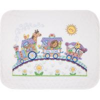 Dimensions Baby Hugs Baby Express Quilt Stamped Cross Stitch Kit NOTM371196