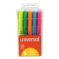 Pocket Highlighter, Chisel Tip, Fluorescent Colors, 5/Set UNV08850